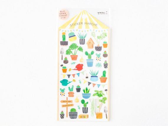 "Photo of MIDORI Sticker Marche ""Cactus"", green, botanical, Japanese Masking Sticker by DESIGNPHIL"