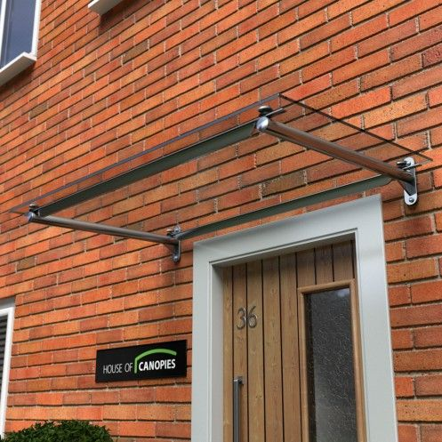 Contemporary Glass Door Canopy Metal Frame Rails Type C Awnings