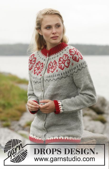 "Knitted DROPS jacket with round yoke and Nordic pattern in ""Karisma ..."