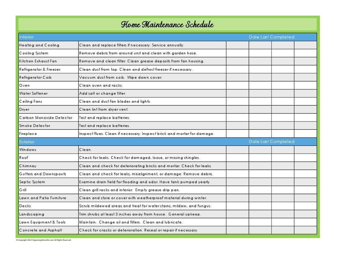 Home Maintenance Schedule print out Home maintenance