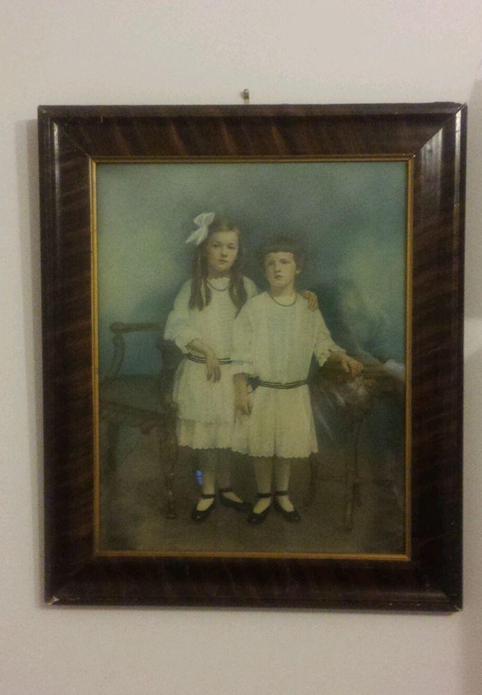 Antique hand painted photograph children Edwardian portrait Easter Tea dress