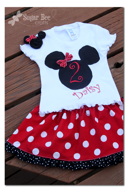 Minnie Outfit, hairclip - and labels! - Sugar Bee Crafts