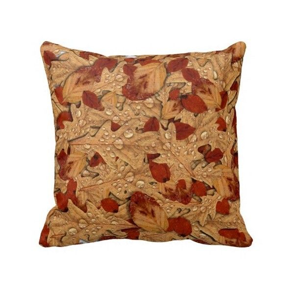 Wet Autumn Leaves Throw Pillows ($36) ❤ liked on Polyvore featuring home, home decor et throw pillows