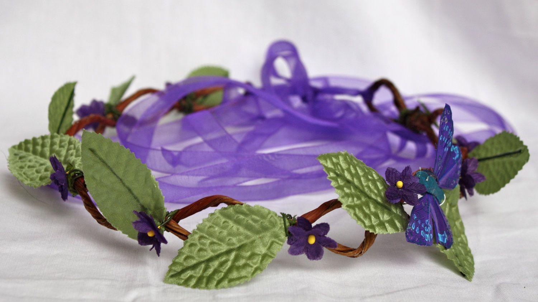 Purple Flower Crown With Butterfly Renaissance Faire Fantasy Wedding