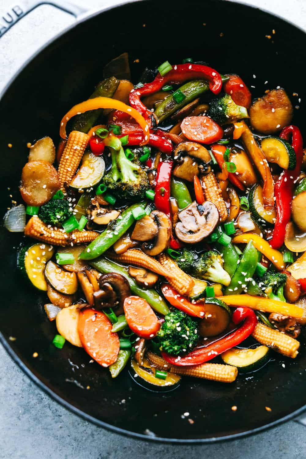 Photo of Easy Vegetable Stir Fry is a mixture of colorful vegetables sautéed in a sweet …