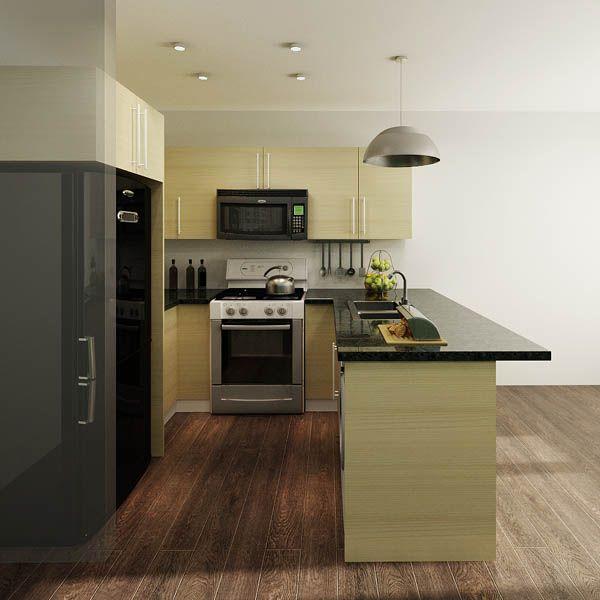 kitchen cabinets, melamine, U-shape, light yellow green, OP14-M02 ...