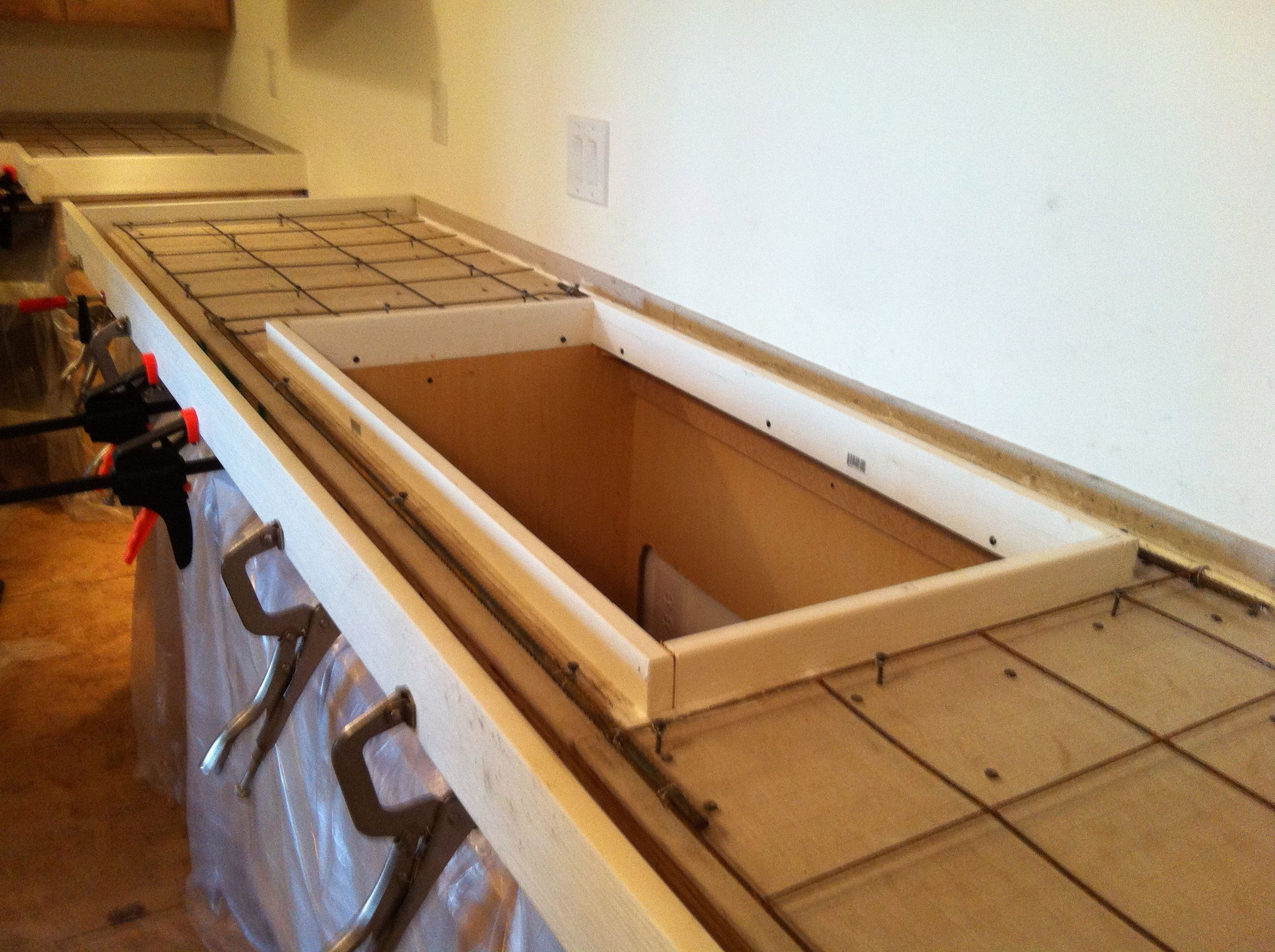 DIY Concrete Countertops - Steel rebar was used in front of the ...