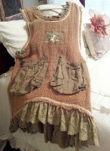 Magnolia Pearl Linen Apron Tunic - I would make this simple tunic with doily pockets and several tiers of lace ruffles on the hem