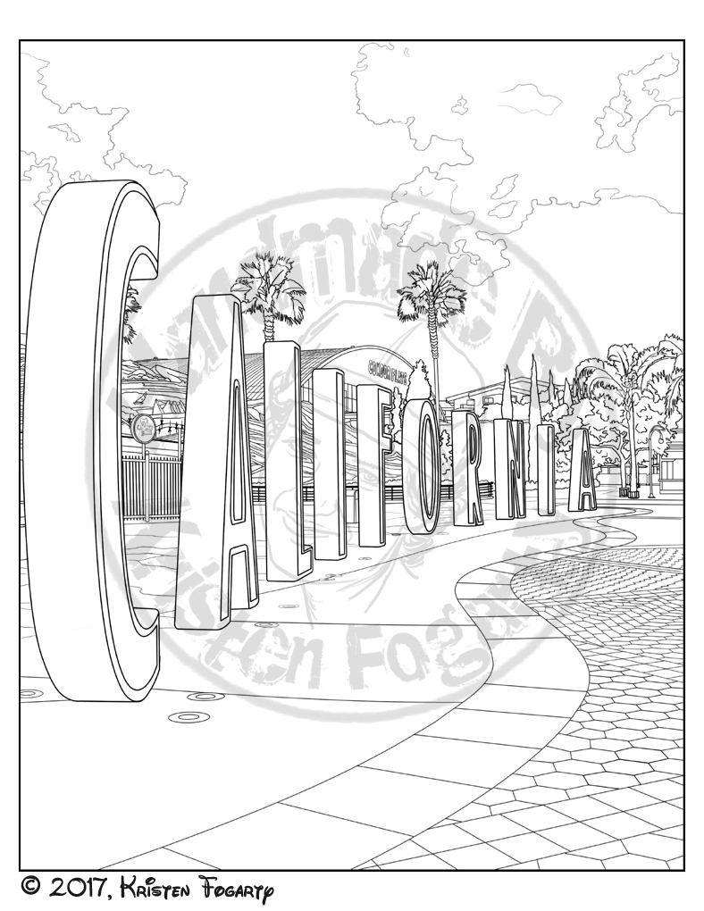 Disneyland Digital Adult Coloring Page California Adventure Etsy