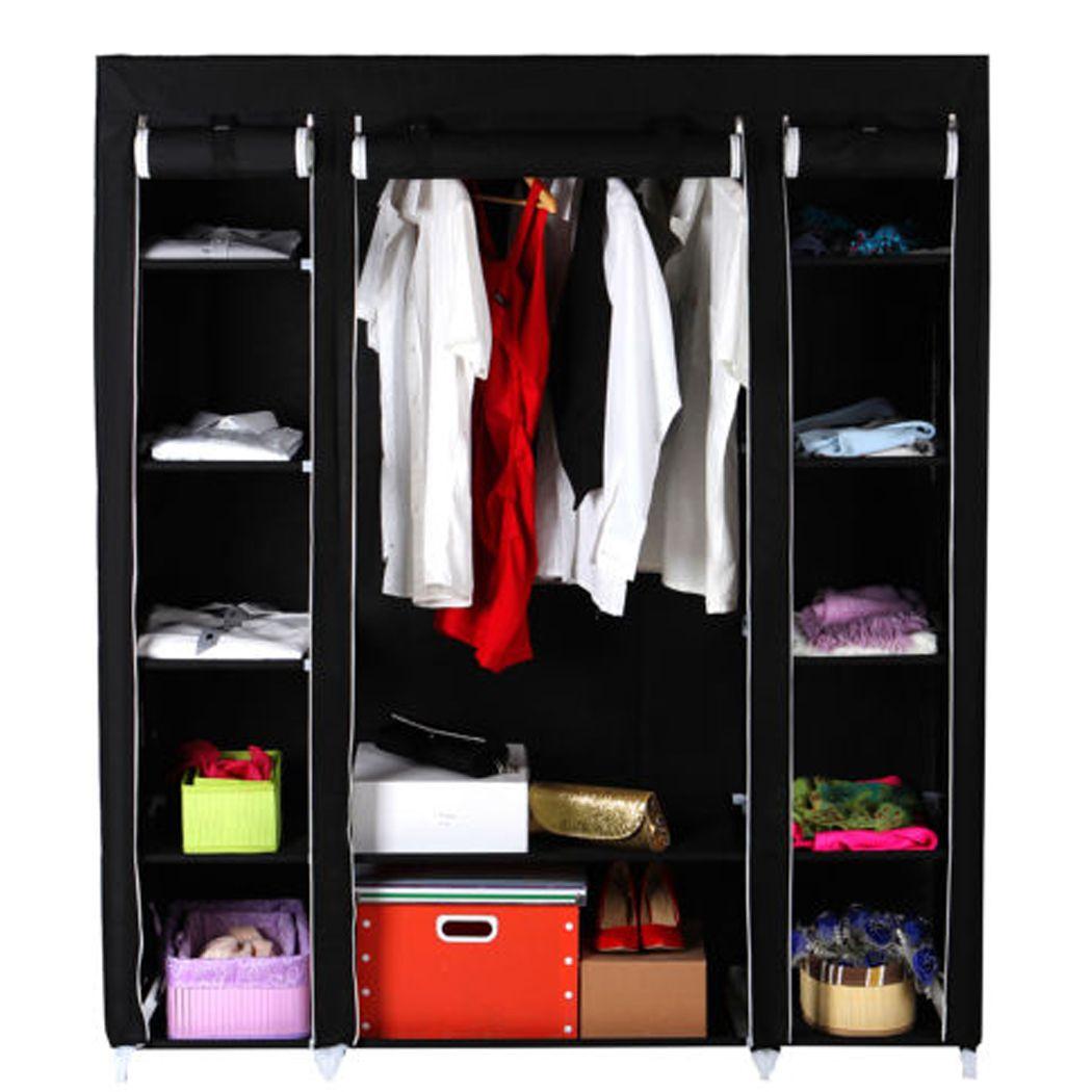 Homdox Nonwoven Wardrobes Portable Simple Closet Storage Cloth Cabinet  Color Shelves Hanging Bar Shoes Clothes Organizer #30 19