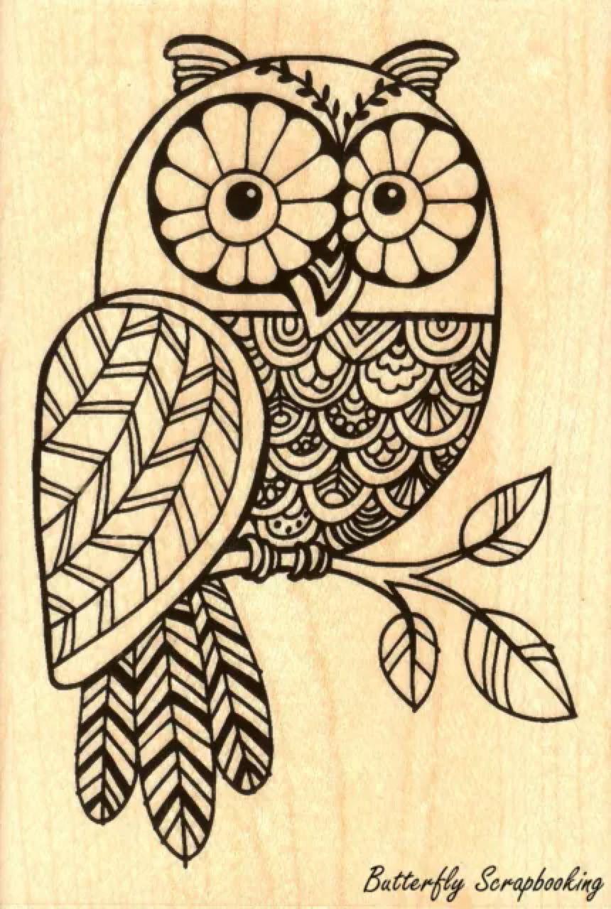 Owl Pen Pattern Owl Wood Mounted Rubber Stamp Stampendous New P230 Malvorlage Eule Eulenmuster Eulenzeichnungen