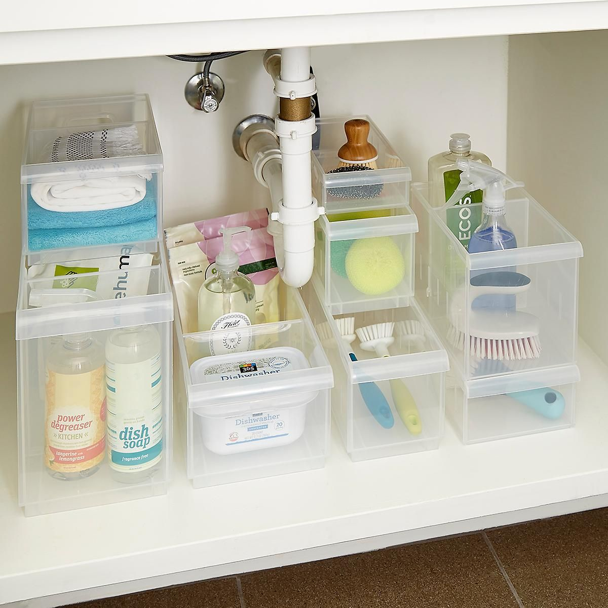 Clear Stackable Plastic Storage Bins Stackable Plastic Storage Bins Under Bathroom Sinks Under Sink Organization