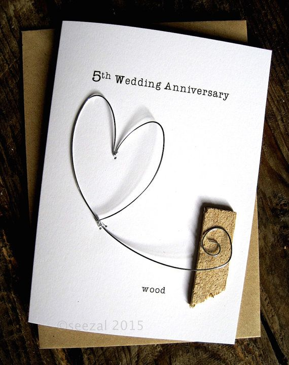 5th Wedding Anniversary Keepsake Card Wood Wire Heart 5 Years Traditional Gift Wedding Anniversary Keepsake Anniversary Cards Handmade 5th Wedding Anniversary