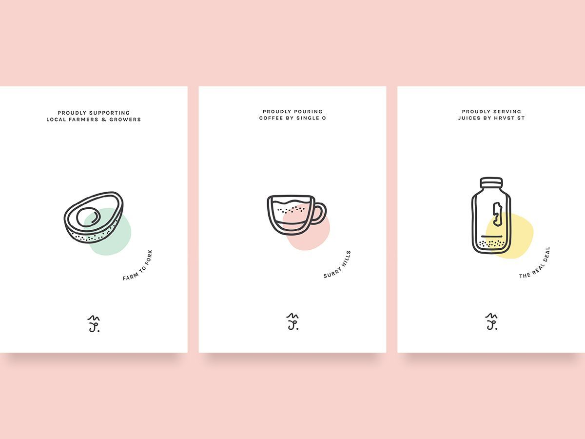 We Re Going To Start Our Week Off With Color And Illustritive Logos This Identity Is Fairly Simple But Very Pretty For A Little Cafe That Specializes In Brea Dream Design Branding