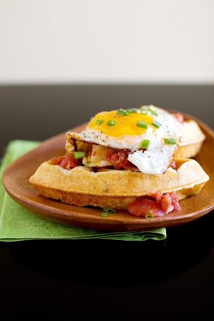 Cornmeal chive waffles with salsa and eggs...yum!