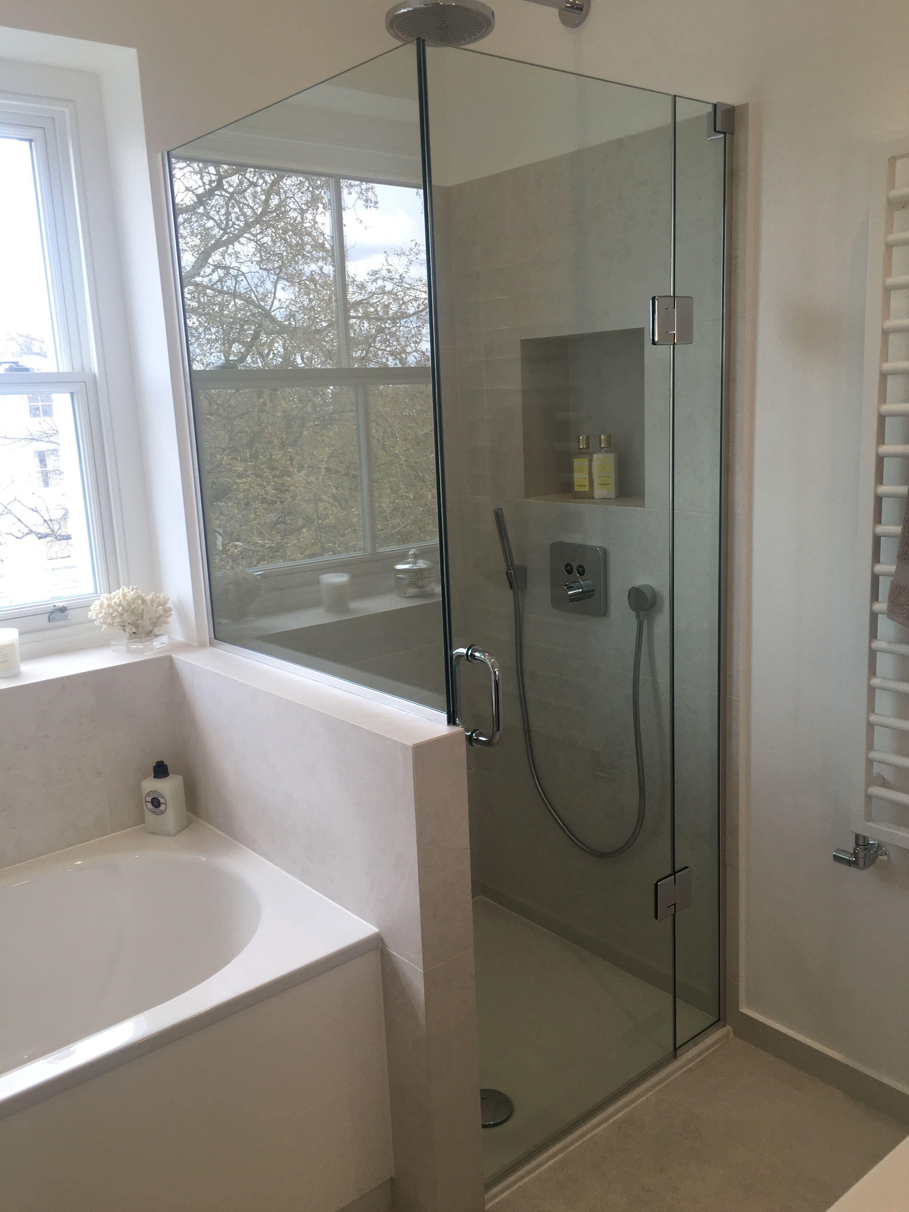 Frameless Shower Enclosure installed to end of bath - Kensington ...