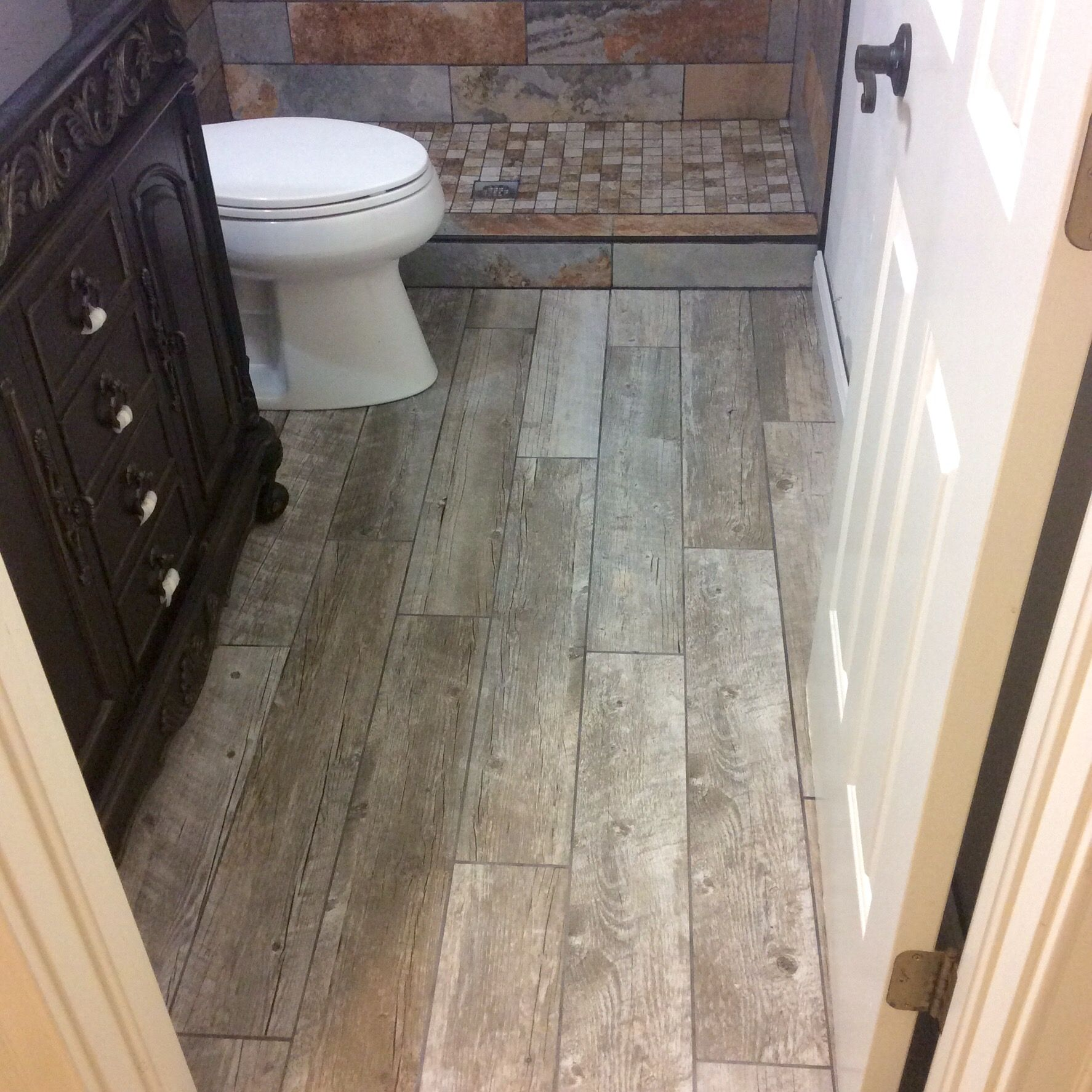 We installed slate tiles with mosaic shower base and weathered we installed slate tiles with mosaic shower base and weathered wood look ceramic tile floor dailygadgetfo Images