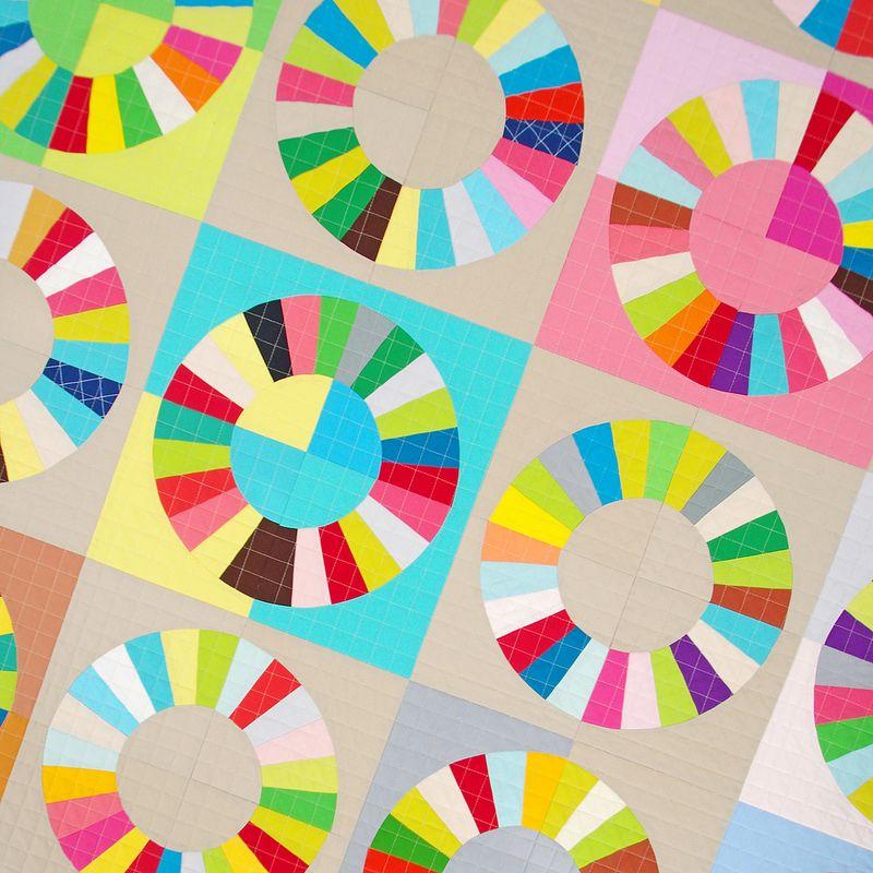 Bloque de color Rueda - Patrón y Tutorial | Red Pepper Quilts 2015