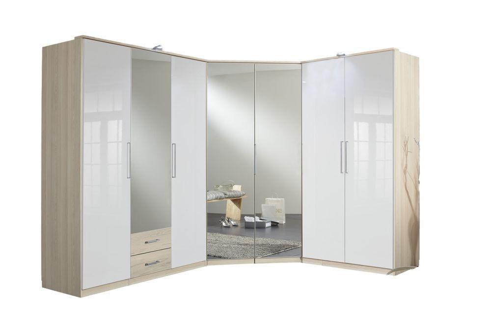 Details about german 7 door white gloss mirror oak for 1 door mirrored corner wardrobe