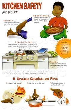 Kitchen Safety Poster Avoid Burns Kitchen Safety Kitchen Safety Tips Food Safety Tips