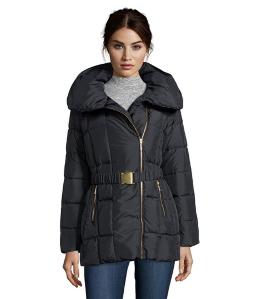 COLE HAAN Black Down Jacket Women's Box Quilted Zip Front Pillow Collar XS-S-M…