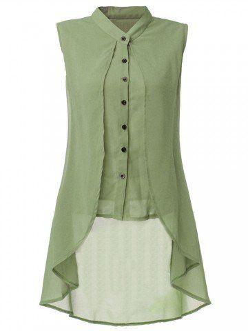 aa8d6a81961891 Women Sleeveless V Neck Button Pure Color Irregular Hem Chiffon Vest Long  Blouse