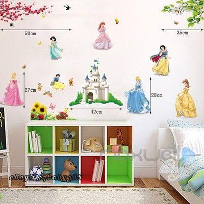 7 Disney Princess Wall Decals Stickers Removable kids nursery baby room decor  sc 1 st  Pinterest & 7 Disney Princess Wall Decals Stickers Removable kids nursery baby ...