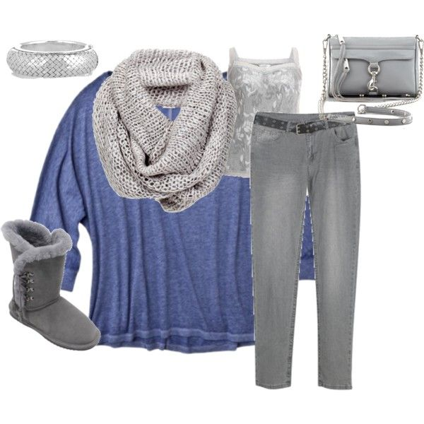 """Blue and Gray Casual - Plus Size"" by intcon on Polyvore"