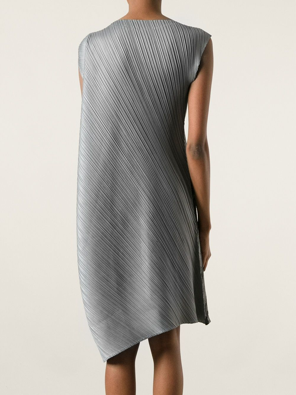 Tonal Grey Boxy Asymmetric Pleated Dress From Pleats Please By Issey Miyake Featuring A Round Neck Sleeveless Design Grant Effect And An