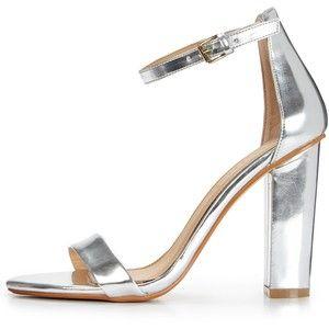 b03122a415d Shoe Box High Block Heel Ankle Strap Sandals Silver