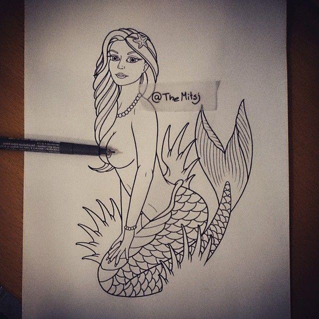 mermaid art artist draw drawing tattoo tattoodesign design ink mermaid neotraditional. Black Bedroom Furniture Sets. Home Design Ideas