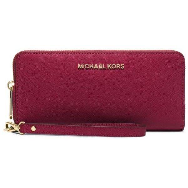 6f3ef69bd36de Michael Michael Kors Cherry Jet Set Travel Continental Wallet ( 158) ❤  liked on Polyvore