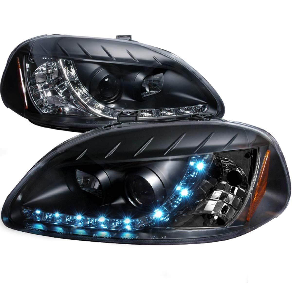 Spec D Projector Headlights Honda Civic Ek Dual Led Halo 96 98 Black Housing Honda Civic Honda Civic Coupe Honda Civic Dx