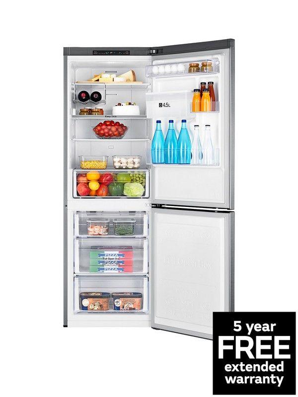 Rb29fwrndsa Eu 60cm Wide Frost Free Fridge Freezer With Digital Inverter Technology And Silver Freestanding Fridge Refrigerator Silver Fridge Freezer