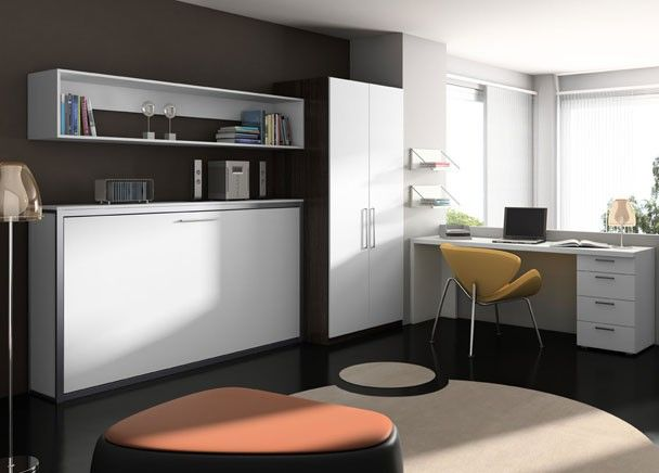 Cama abatible estantes armario y mesa escritorio - Fabricar cama abatible ...