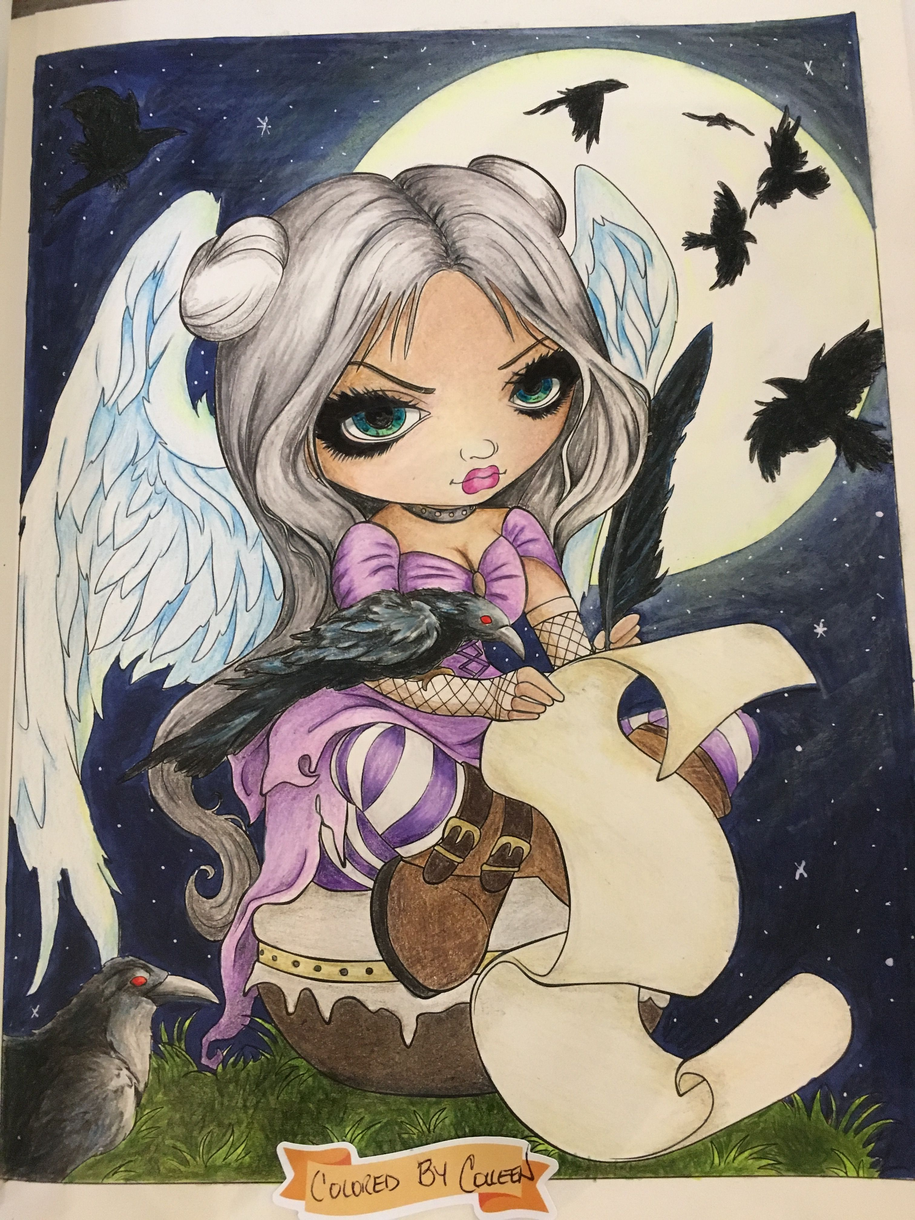 My coloring page from Jasmine Becket-Griffith- A Fantasy Art Adventure- used Prisma Premiers and Polychromos. One of my favourite books to color✍