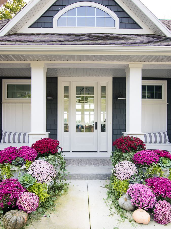 Burgundy and Pink Fall Front Porch - The Lilypad Cottage