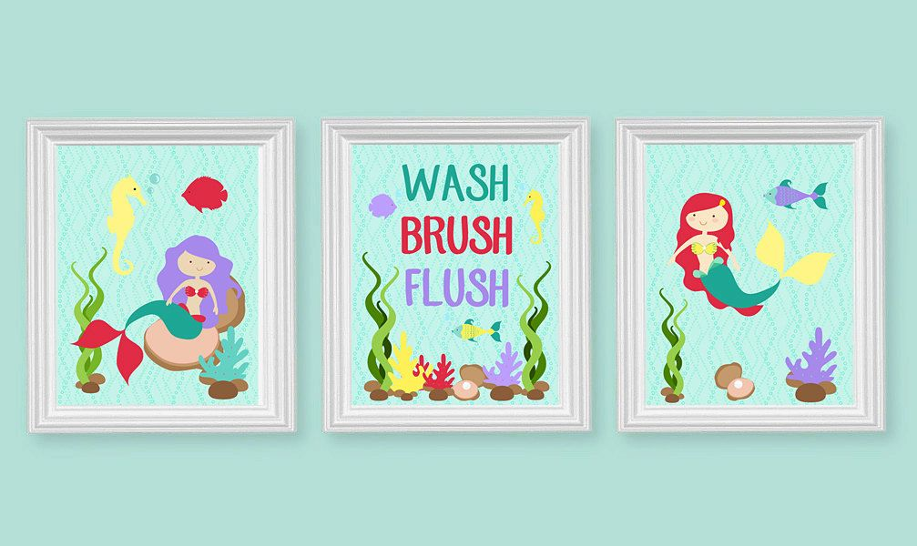 kids bathroom art mermaid bathroom decor wash brush flush rh pinterest com