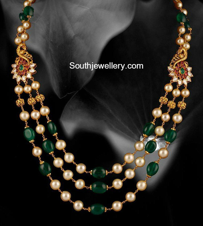 Emerald Beads and South Sea pearls Mala | beads jewellery ...
