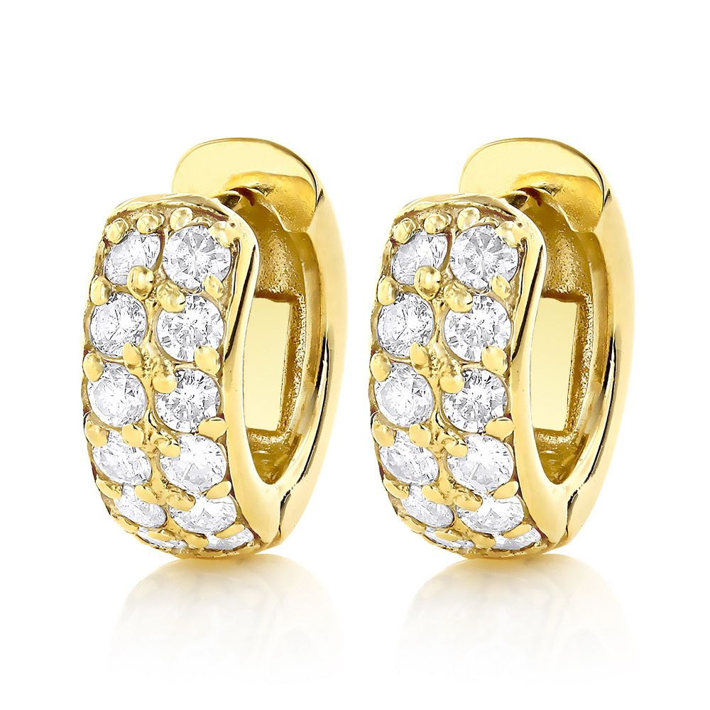 Diamond Hoop Earrings 14k Gold 1 Carat Huggie