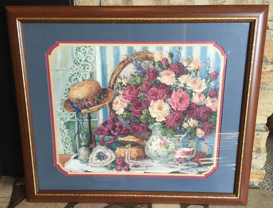 Home Interiors Framed Print Picture By Barbara Mock Bouquet Flowers Hat Case Tea Ebay