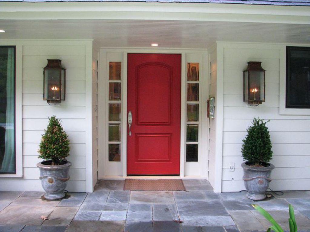 Red Front Door With Sidelights Exterior Pinterest Front Door