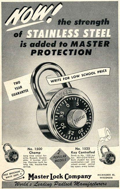 1953 Master Lock Company Magazine Print Advertisement