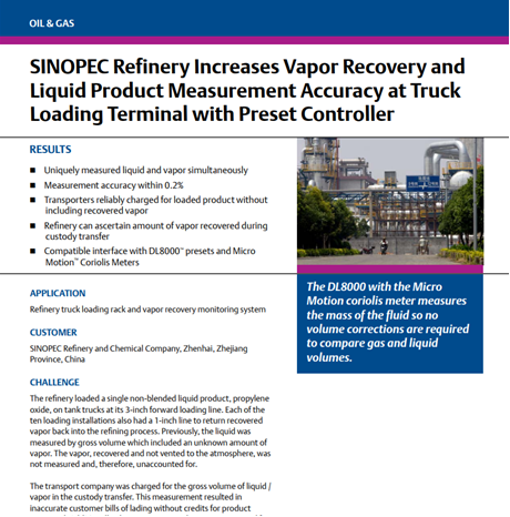 SINOPEC Refinery Increases Vapor Recovery and Liquid Product