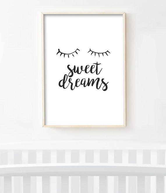 Scandinavian Nursery Print, Sweet Dreams Art, Modern ...