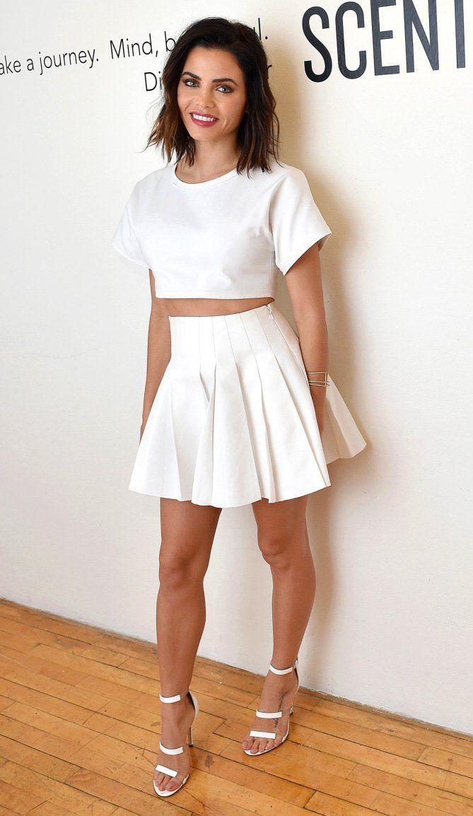 43c4448b8a0fa Jenna Dewan Tatum in a white crop top and mini skirt