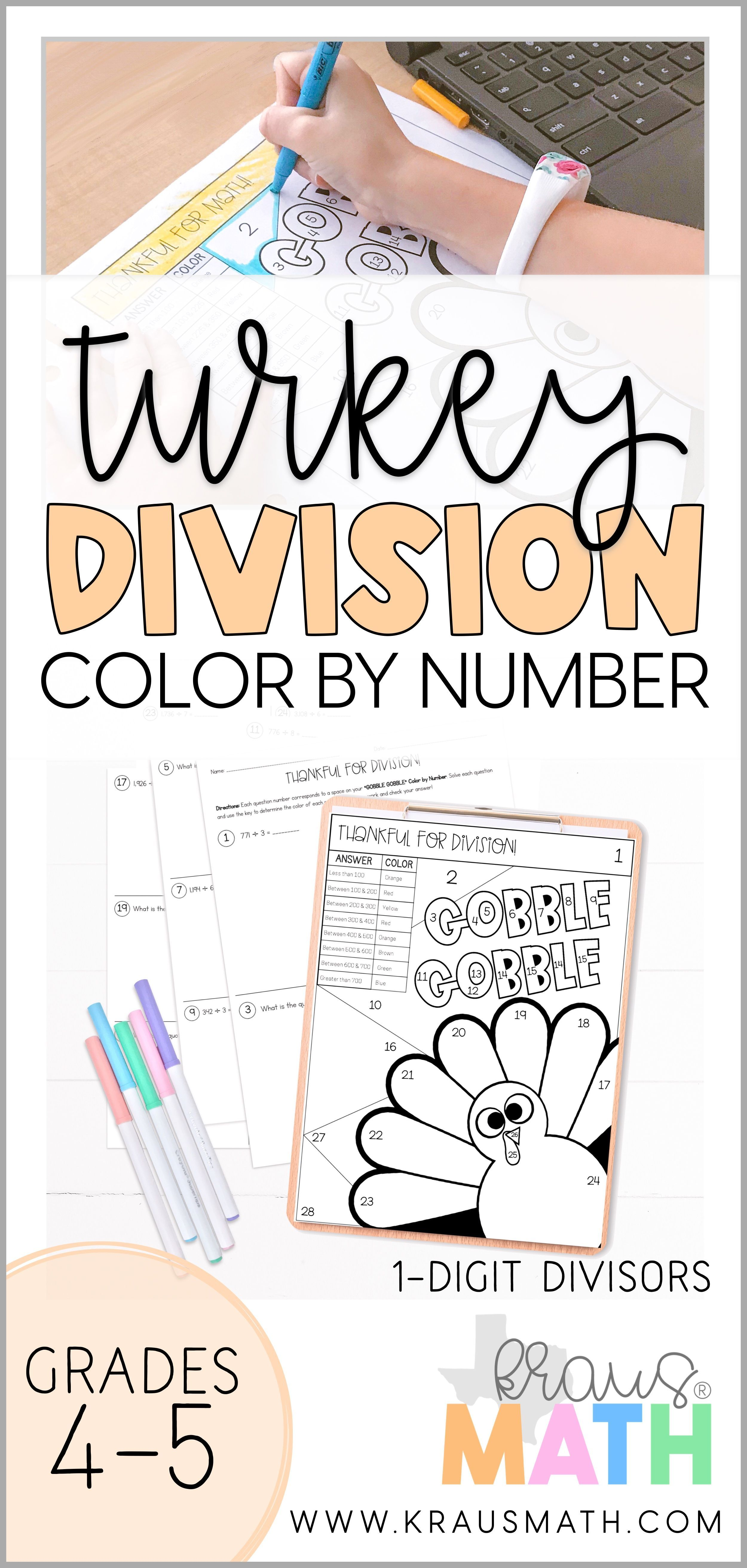 Color By Number Gobble Gobble Thanksgiving Division