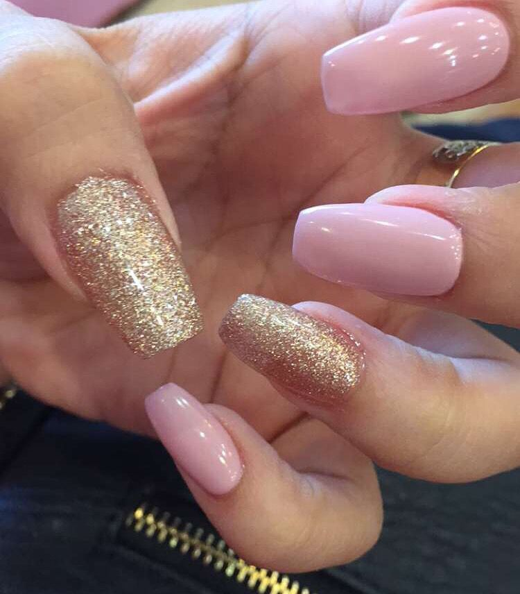 Pink And Gold Coffin Nails Gold Acrylic Nails Gold Nails Quinceanera Nails
