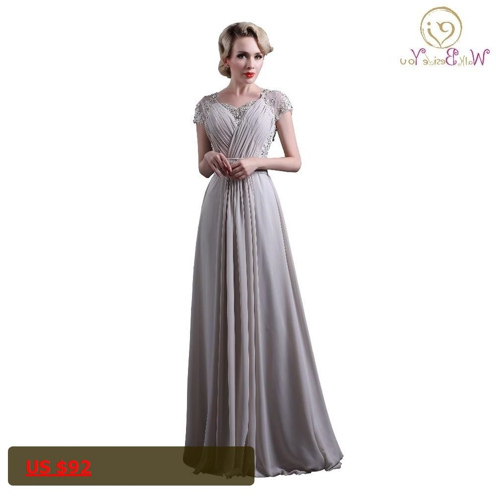 gray chiffon evening dresses short sleeves lace applique bead