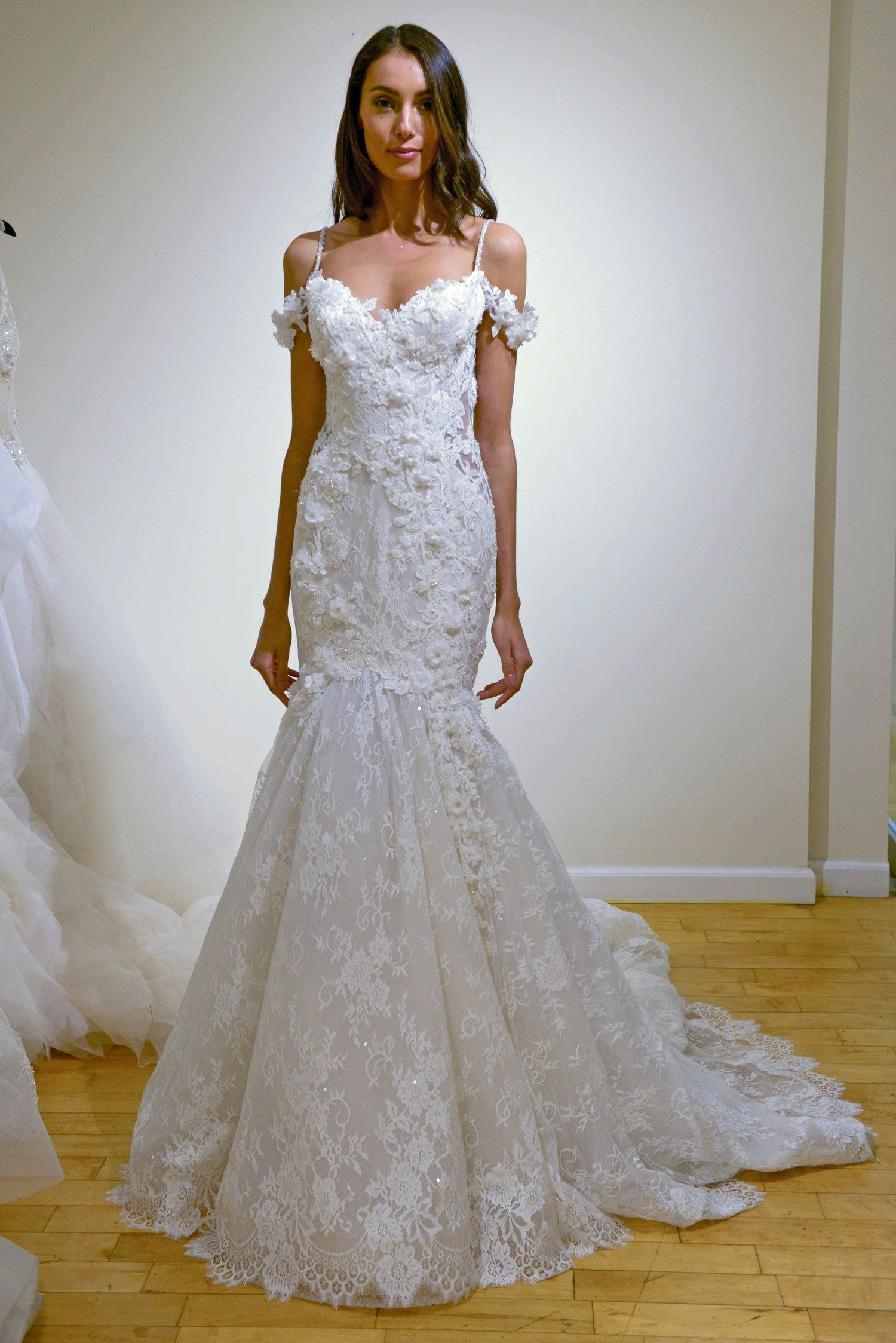 8ec068a4df03 Trumpet wedding dress with sweetheart neckline, embroidery, and spaghetti  straps